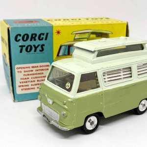 Corgi 420 Ford Thames Airborne Caravan - two-tone green, silver trim, spun hubs - Mint example in an excellent blue and yellow carded picture box, small damage to one end flap.