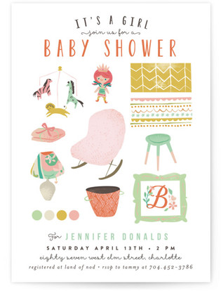 Baby Girl Icons Shower Invitations