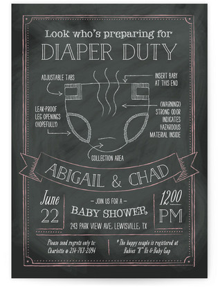 Dirty Diaper Duty Baby Shower Invitations