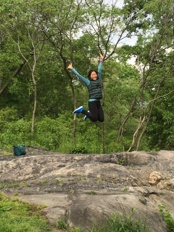 happy jump on a rock in Central Park!