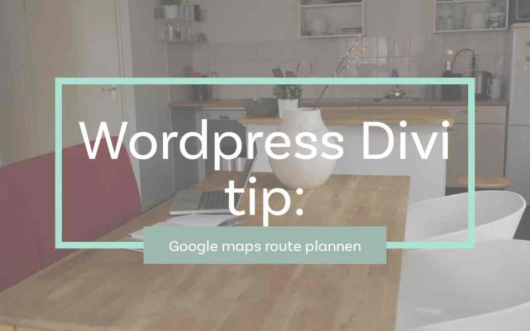 Divi WordPress Quick tip: Google maps route plannen