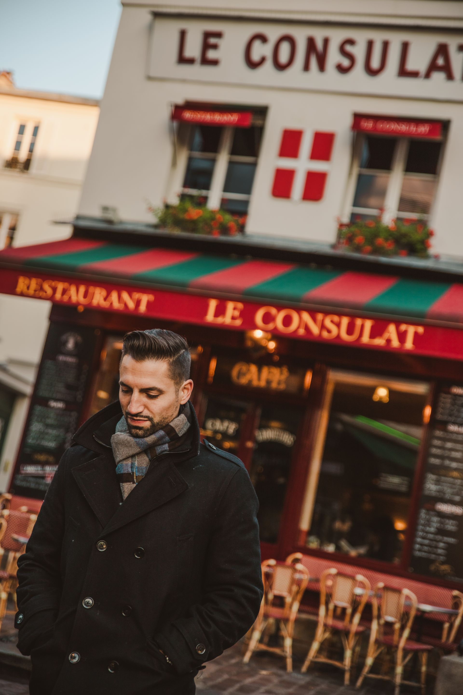 Dan in Paris Frane Walking out of Le Consulat Restaurant