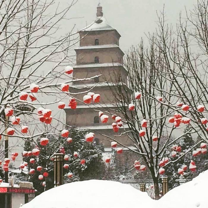 China: Big Snow for the Big Wild Goose Pagoda #Pretty #SpringFestival #XianScenes #China