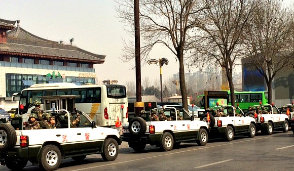 China: Some pre-CNY military action outside the hotel and famous Dayanta (Pagoda)!