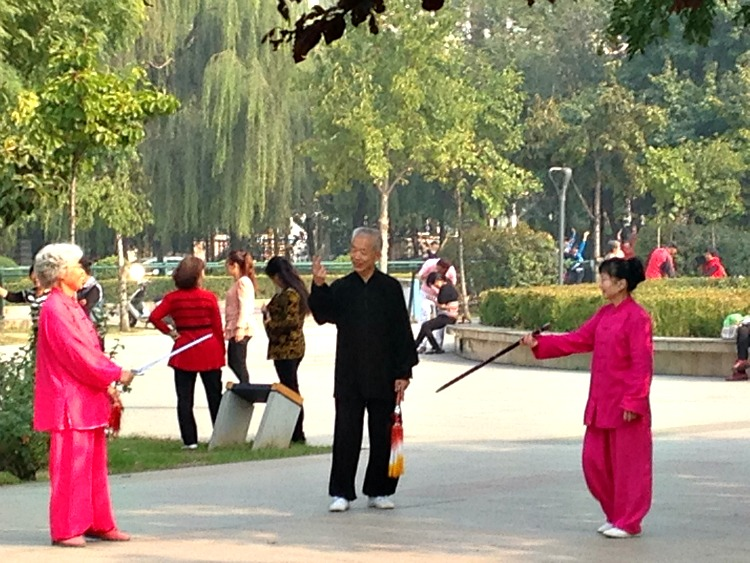 China: Chinese ladies practicing their traditional sword dancing #XianScenes #ChinaLife