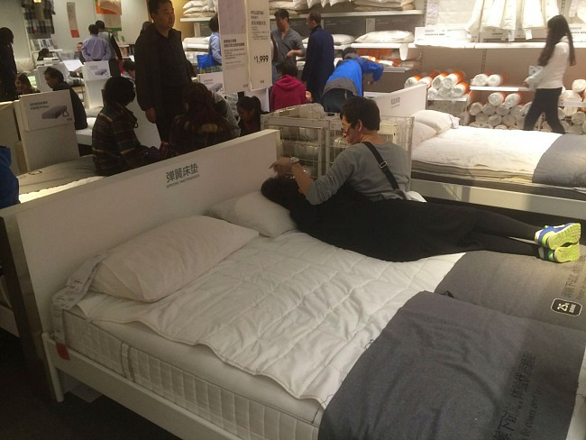 Ikea Bed Couple Canoodling