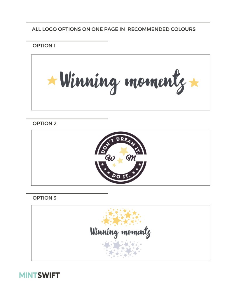 Next step was to translate this moodboard and all the ideas to real logo concepts! As always, there were so many ideas, but I've picked these three to show to Laura: