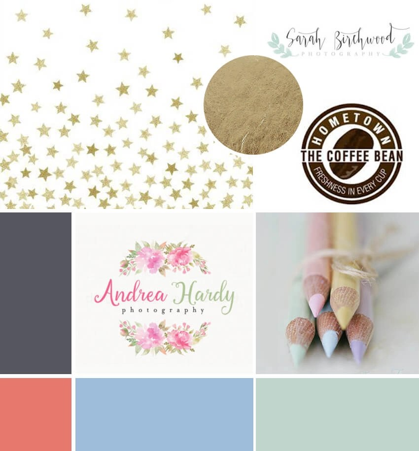 After I reviewed a questionnaire, it was a time to start research and moodboard creation process. I've searched on Pinterest for images associated with all information from questionnaire. I've picked pastel and metallic colour for both male and female. Side note: The three logos from the moodboard are Laura's references, but more for layout ideas rather than aesthetics.