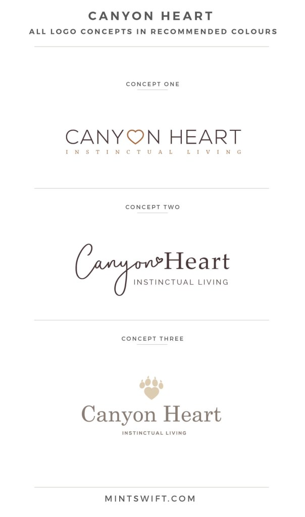 Canyon Heart - logo design concepts in recommended colours- MintSwift