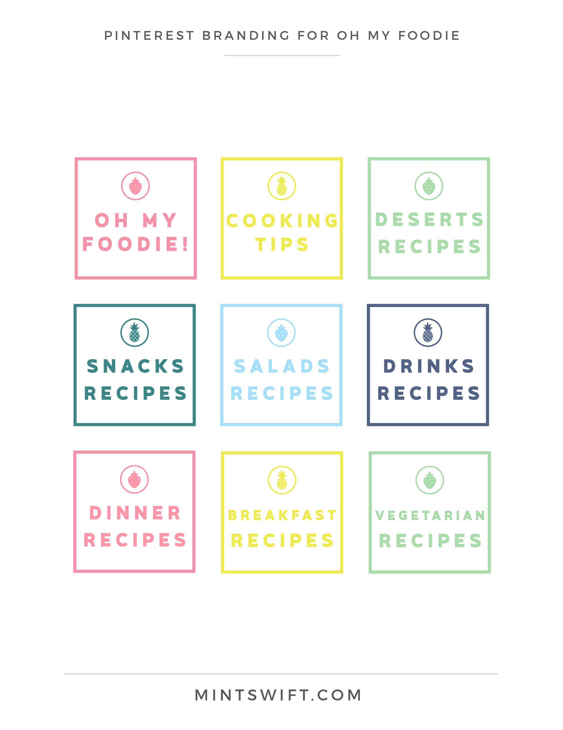 Oh My Foodie - Pinterest Branding Design - Brand & Website Design Package - MintSwift