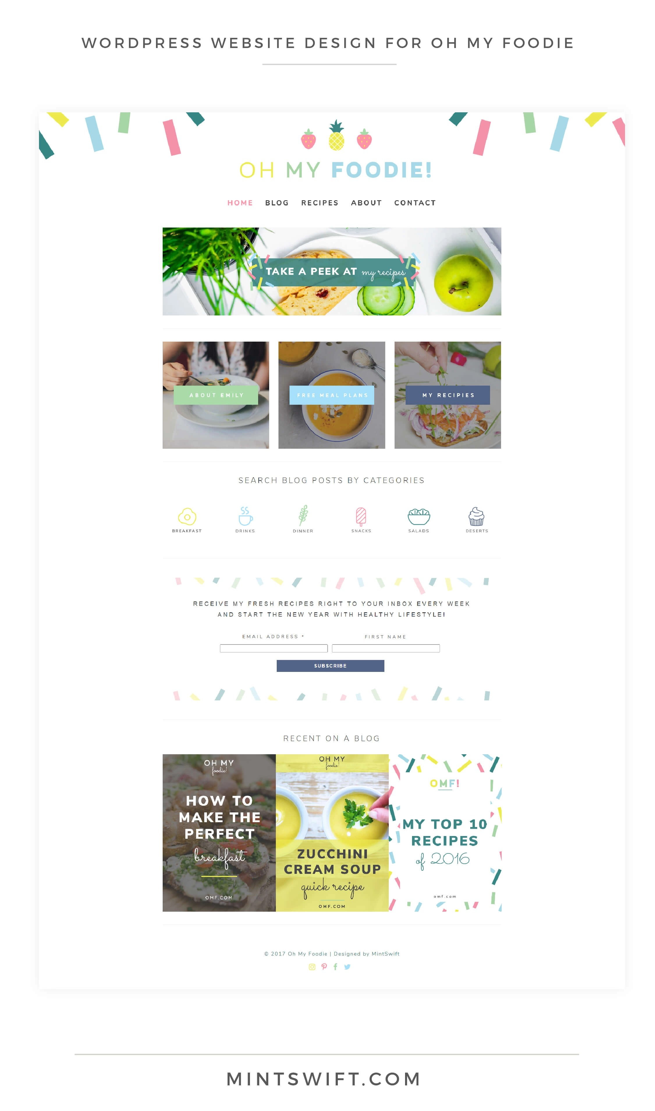Oh My Foodie - WordPress Website Design - MintSwift