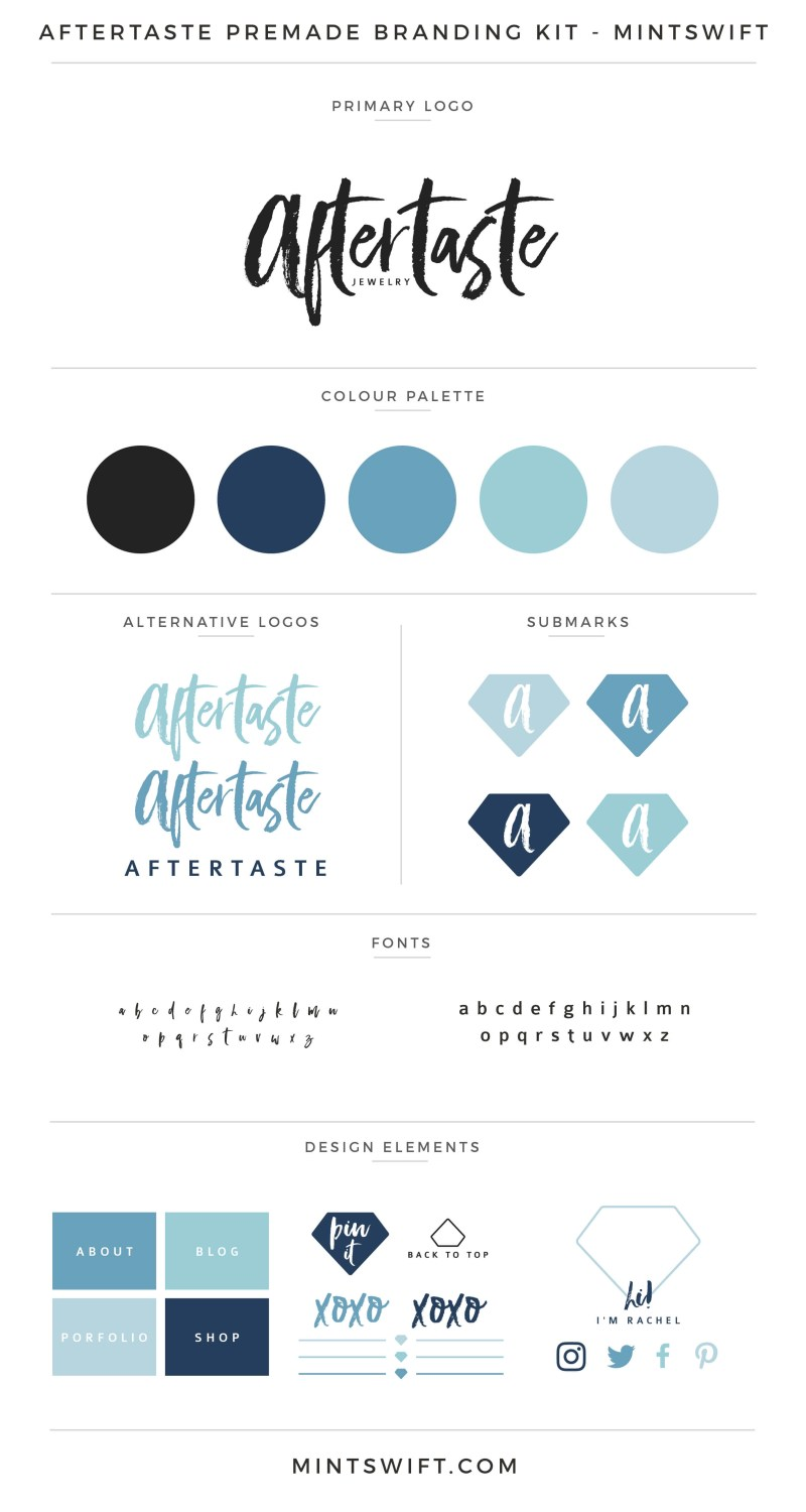 Aftertaste Premade Branding Kit | Branding Kit | Premade logo | Pre-made logo | Pre-made branding kit | Premade Brand Design| Branding | Brand Design | Website Design Kit | Blog Design Kit | Blog kit | Website kit | Website elements | Blog elements | Design elements | Branding kits shop | MintSwift Shop | Premade logo design | Add-On | Logo Design | MintSwift| Adrianna Glowacka | MintSwift Design