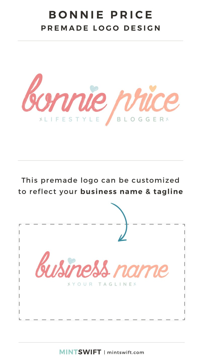 Bonnie Price Premade Logo - Personalized with your business name & tagline – MintSwift Shop