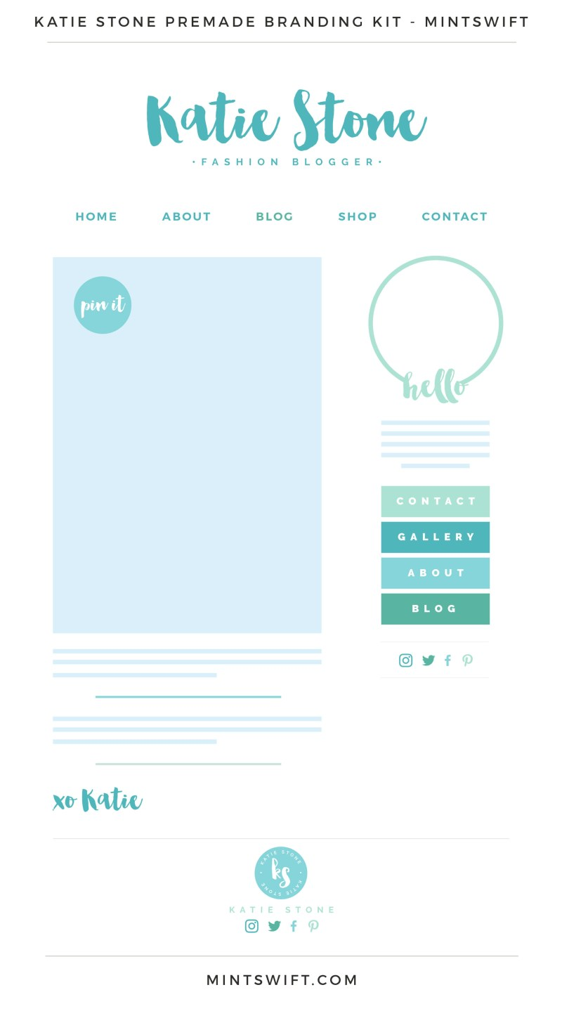 Katie Stone Premade Branding, Website & Blog Design Kit – MintSwift