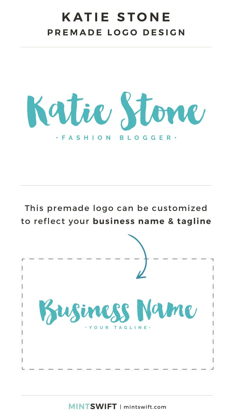 Katie Stone Premade Logo - Personalized with your business name & tagline – MintSwift Shop