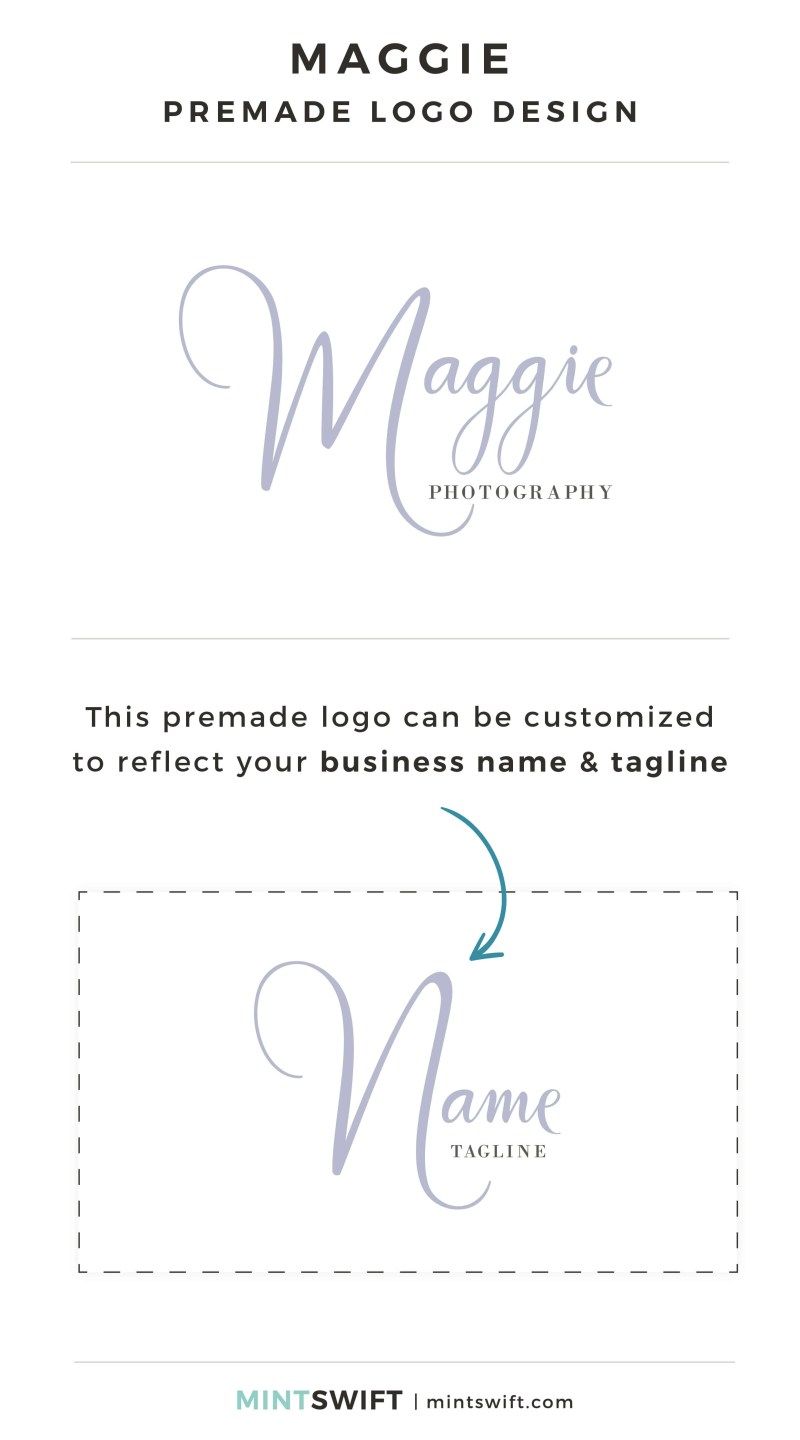 Maggie Premade Logo - Personalized with your business name & tagline – MintSwift Shop