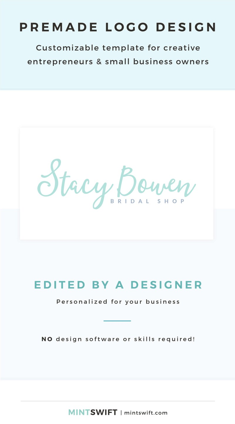 Stacy Bowen Premade Logo - Customizable template for creative entrepreneurs & small business owners – MintSwift Shop