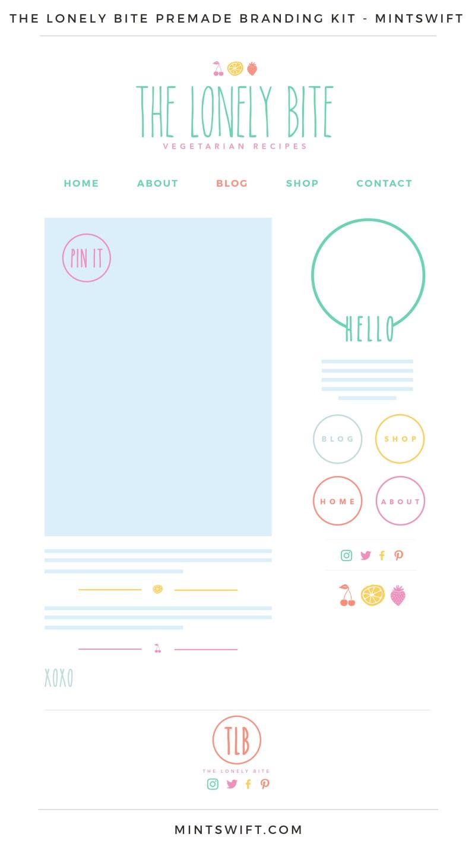 The Lonely Bite Premade Branding, Website & Blog Design Kit – MintSwift