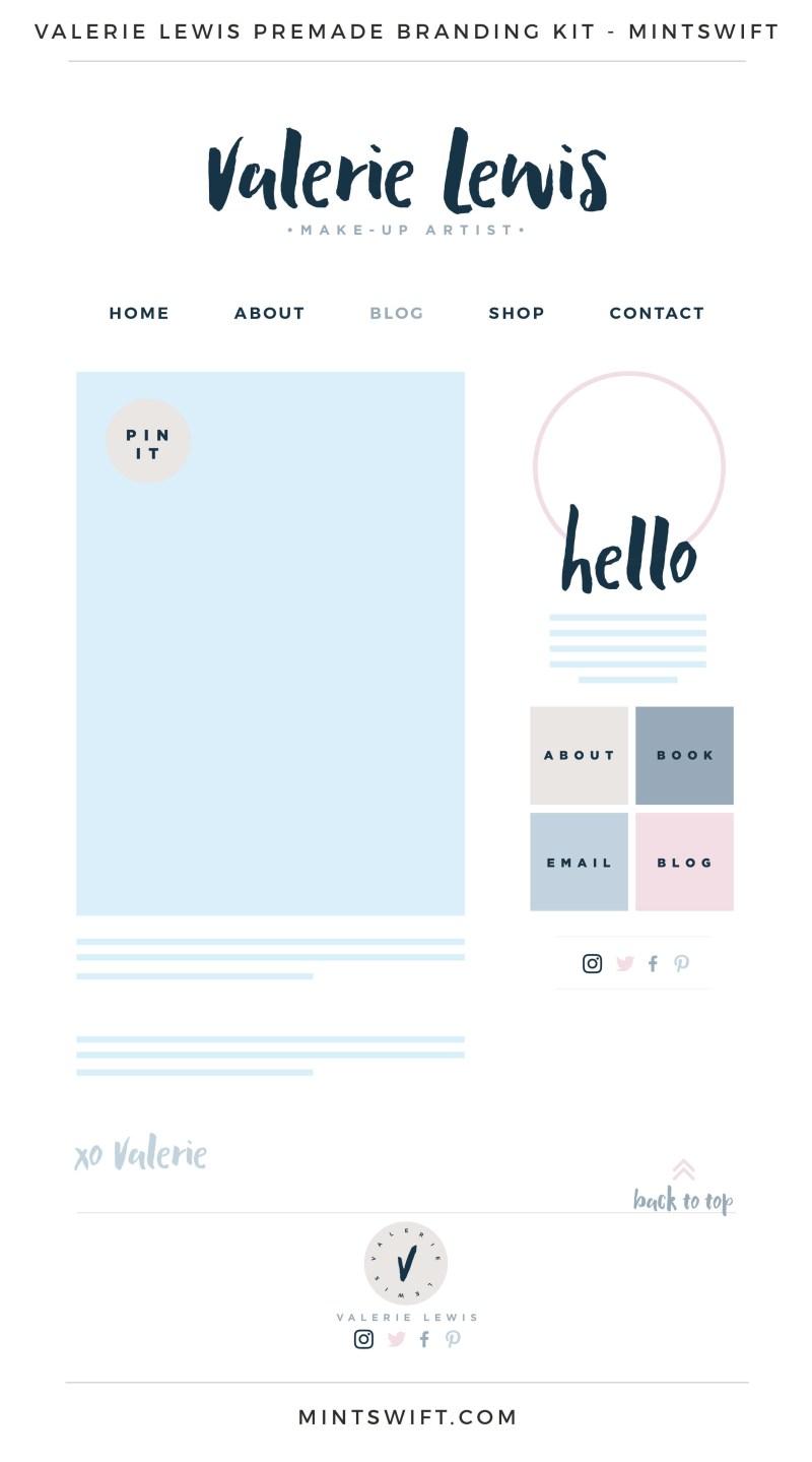 Valerie Lewis Premade Branding, Website & Blog Design Kit – MintSwift