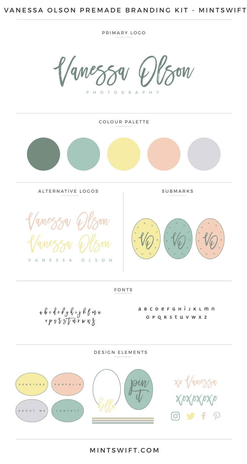 Vanessa Olson Premade Branding Kit | Branding Kit | Premade logo | Pre-made logo | Pre-made branding kit | Premade Brand Design| Branding | Brand Design | Website Design Kit | Blog Design Kit | Blog kit | Website kit | Website elements | Blog elements | Design elements | Branding kits shop | MintSwift Shop | Premade logo design | Add-On | Logo Design | MintSwift| Adrianna Glowacka | MintSwift Design