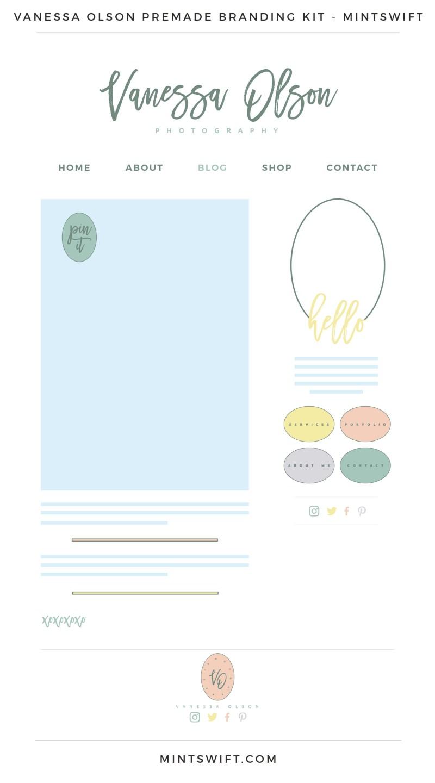 Vanessa Olson Premade Branding, Website & Blog Design Kit – MintSwift