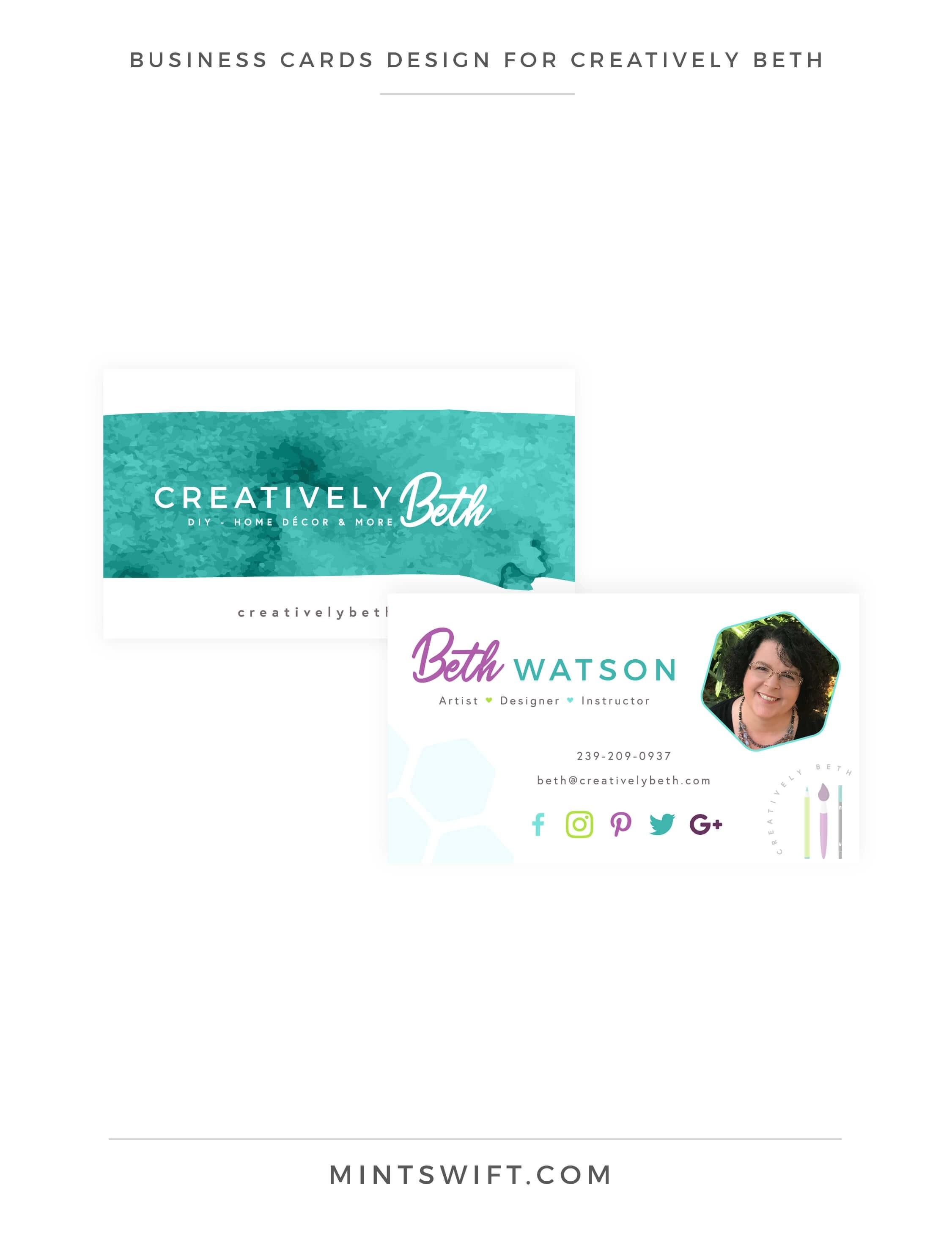 Creatively Beth - Business cards design - Brand & Website Design - MintSwift