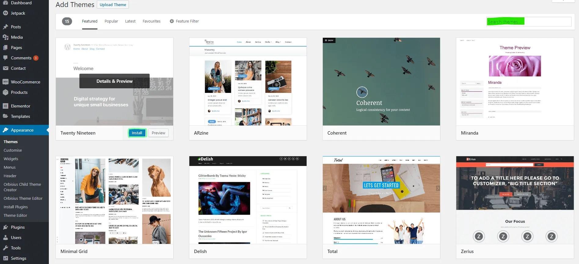 How to install a WordPress theme - using the WordPress theme search - 3 - MintSwift