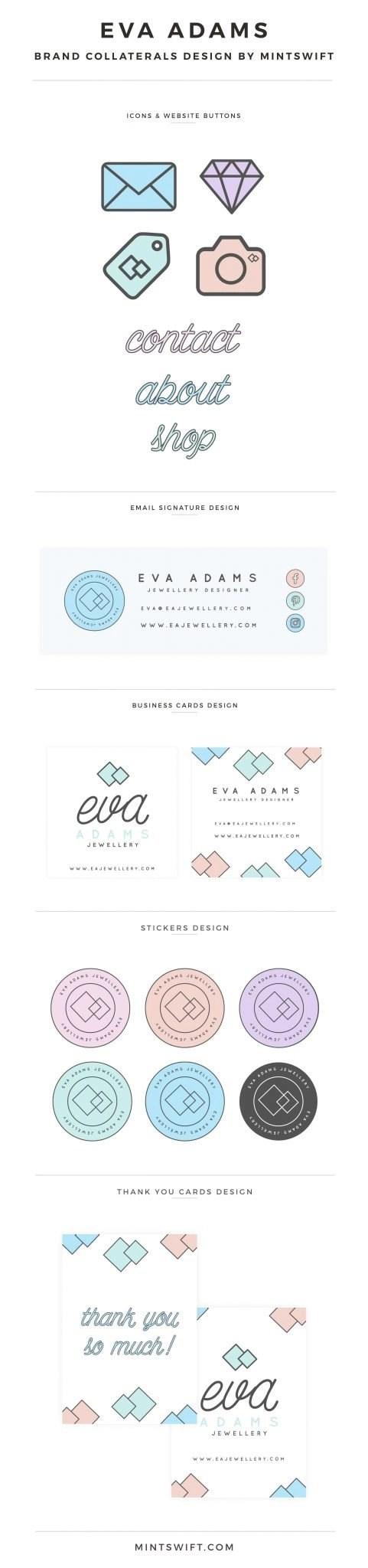 Eva Adams - Brand Collaterals Design by MintSwift