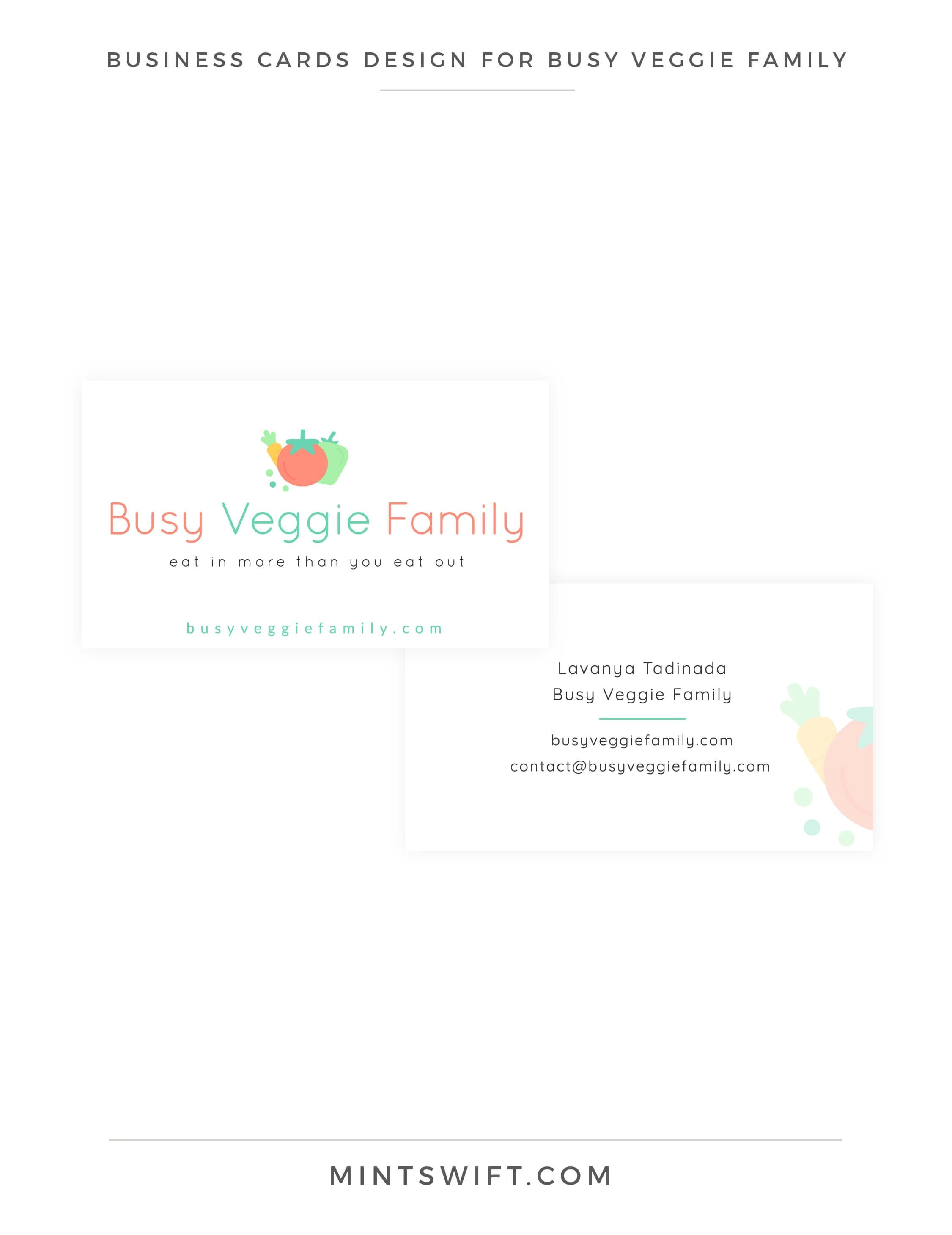 Busy Veggie Family - Business Cards Design - Brand & Website Design Package - MintSwift