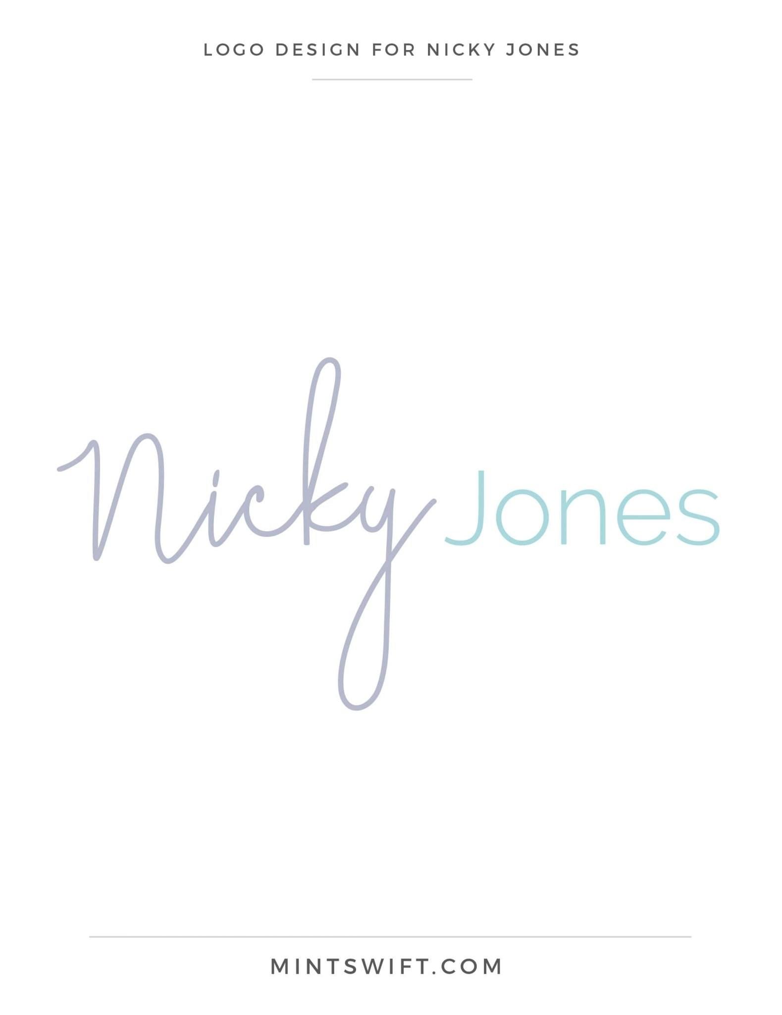 Nicky Jones - Logo Design - Brand Design Package - MintSwift