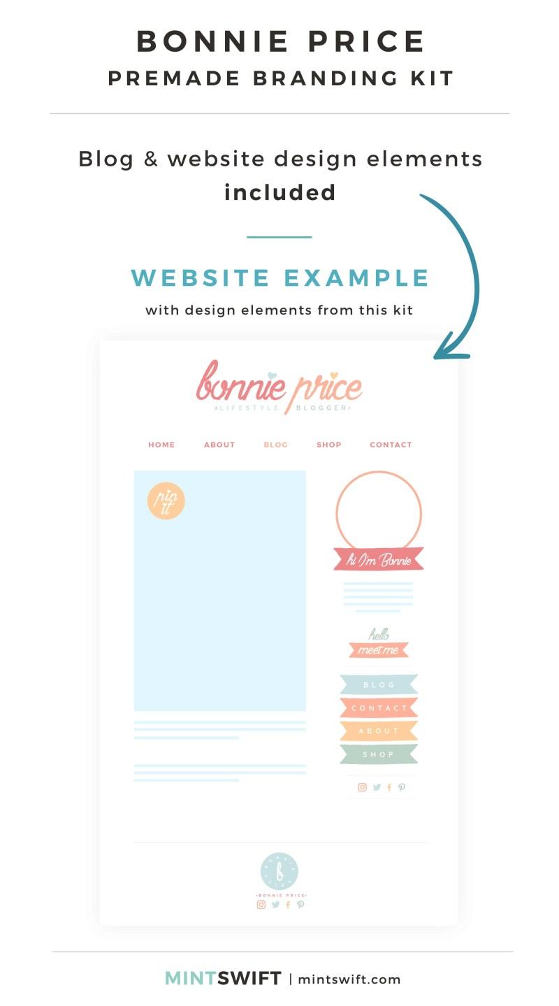 Bonnie Price Premade Branding Kit - Blog & Website design elements included - MintSwift Shop