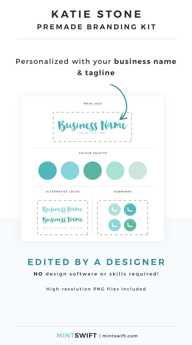 Katie Stone Premade Branding Kit - Personalized with your business name & tagline – MintSwift Shop