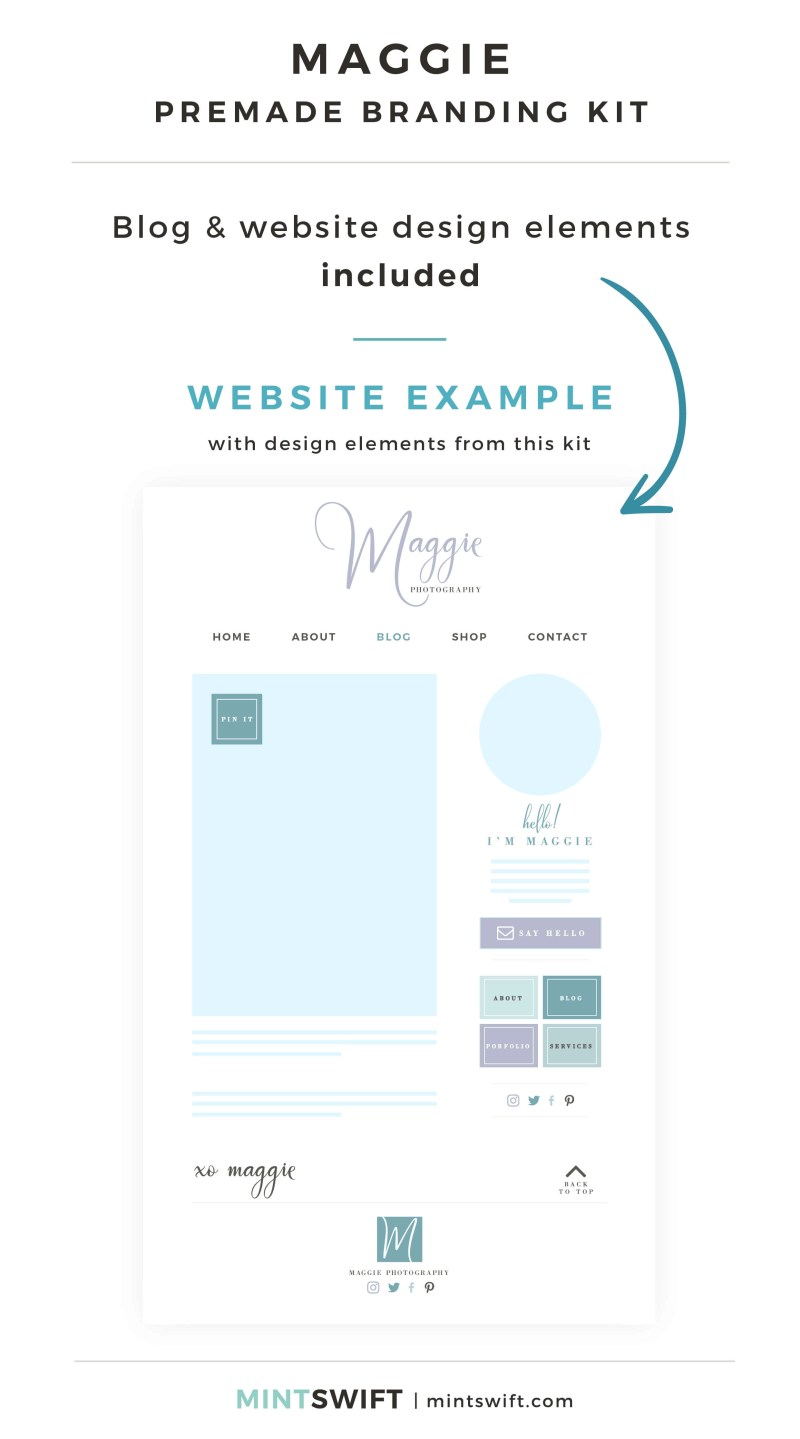 Maggie Premade Branding Kit - Blog & Website design elements included - MintSwift Shop