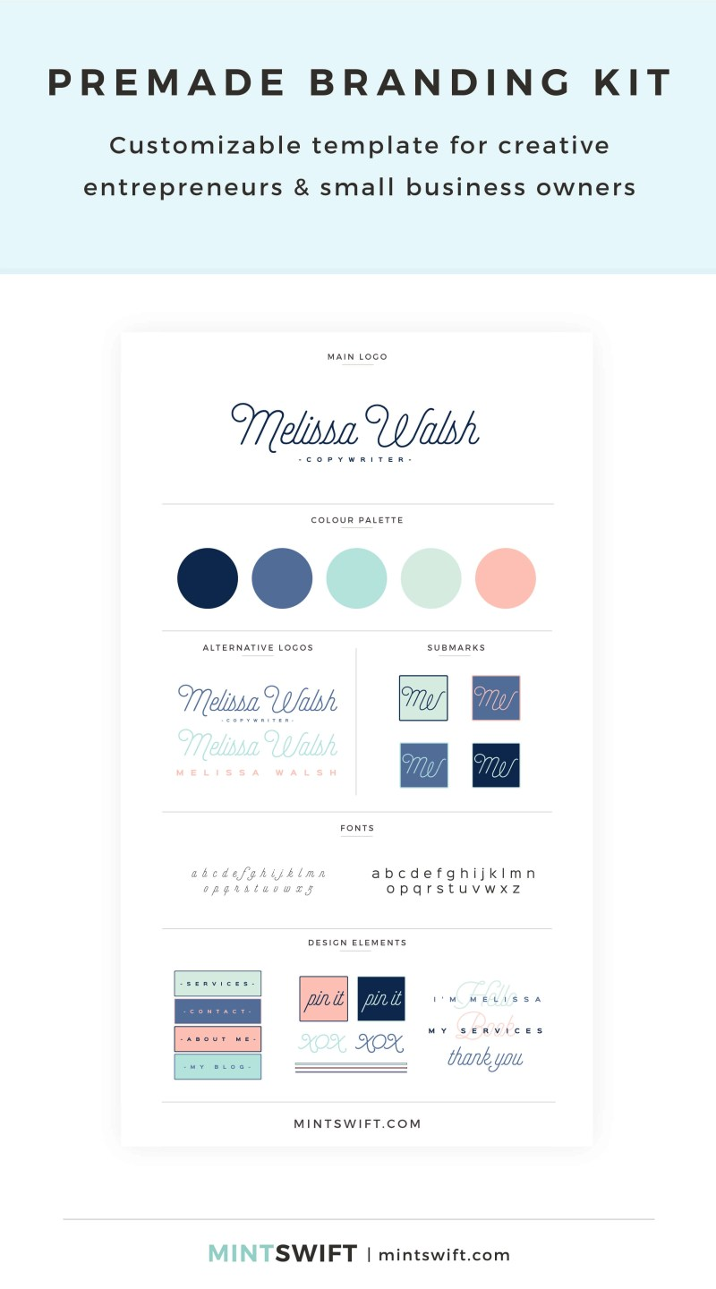 Melissa Walsh Premade Branding Kit – Customizable template for creative entrepreneurs & small business owners – MintSwift Shop