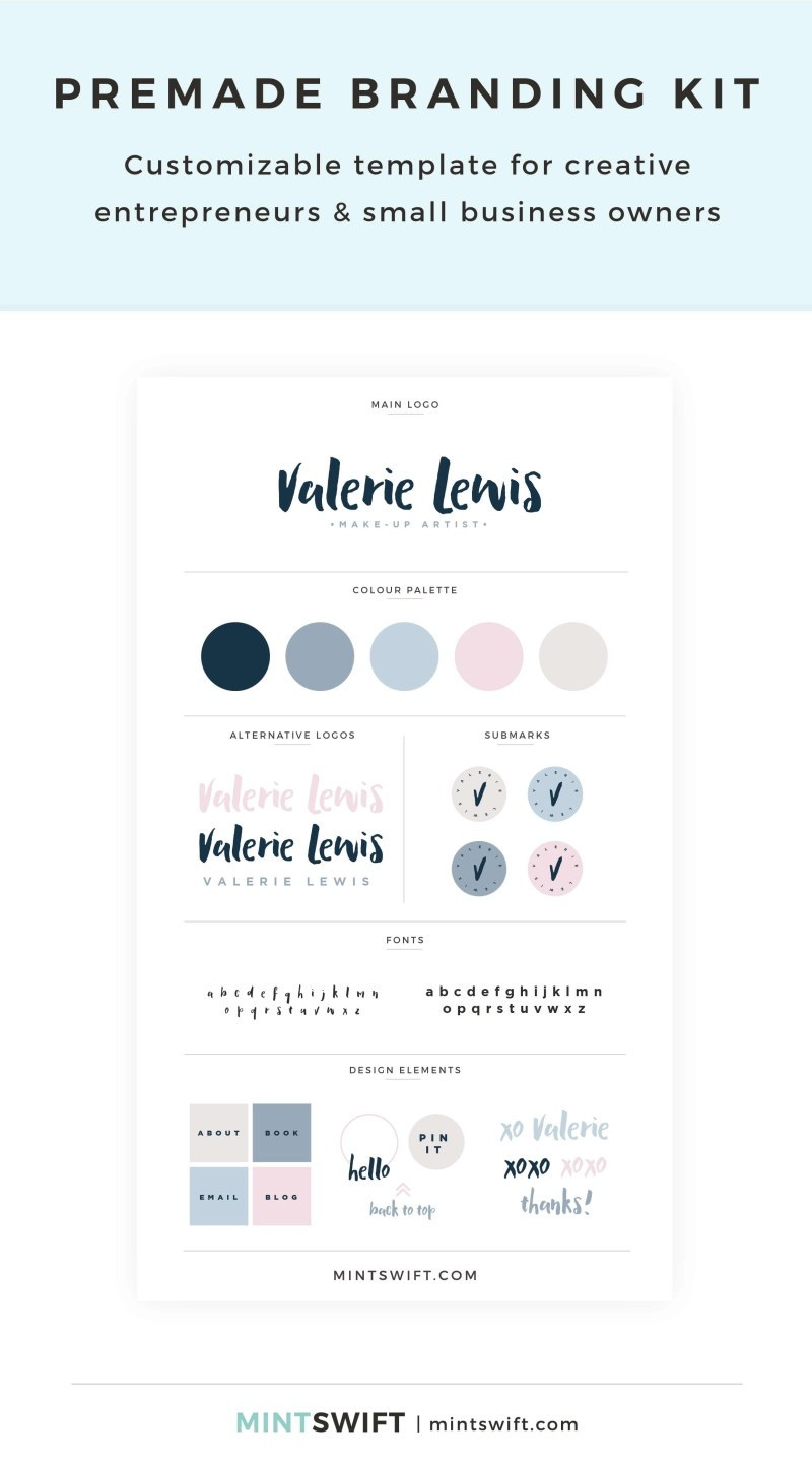 Valerie Lewis Premade Branding Kit – Customizable template for creative entrepreneurs & small business owners – MintSwift Shop