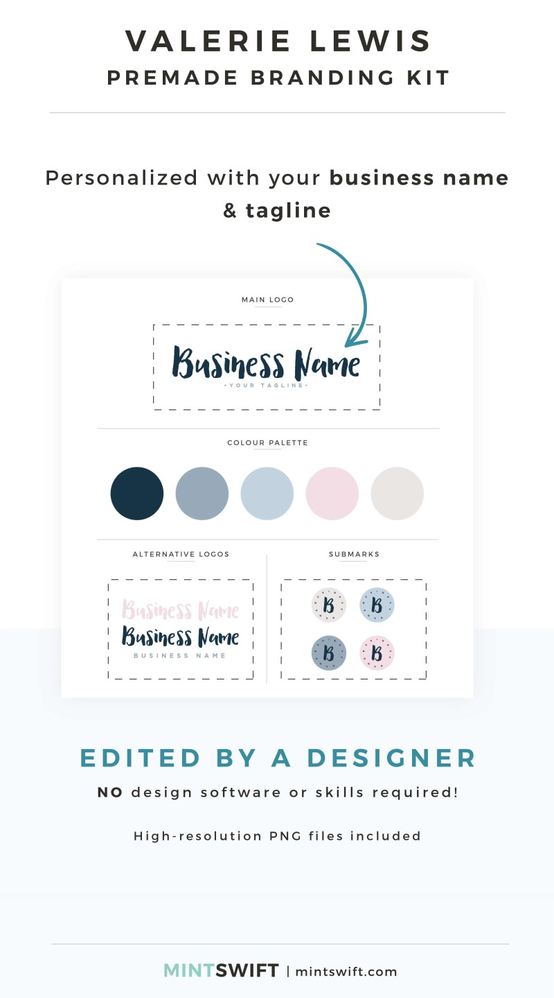Valerie Lewis Premade Branding Kit - Personalized with your business name & tagline – MintSwift Shop