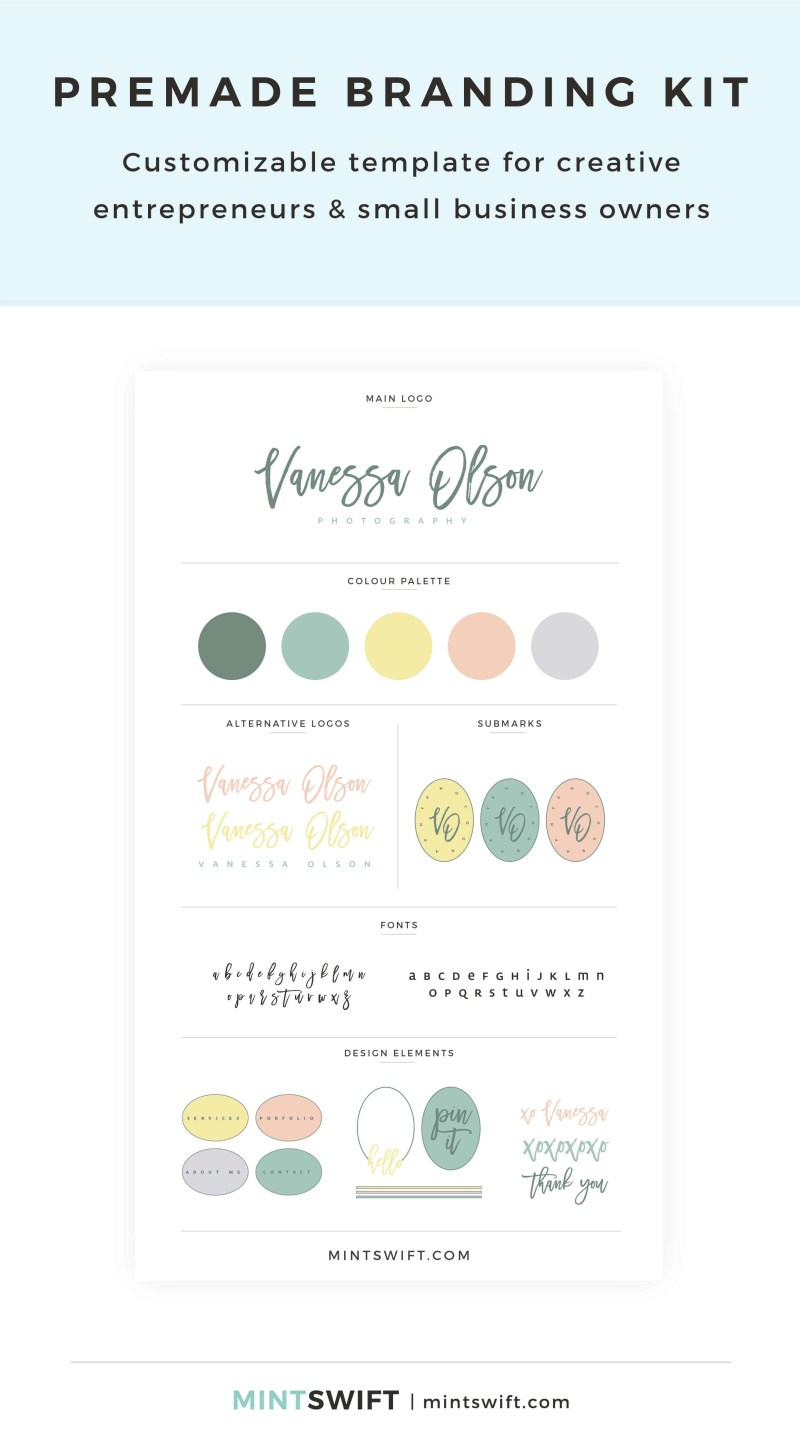 Vanessa Olson Premade Branding Kit – Customizable template for creative entrepreneurs & small business owners – MintSwift Shop