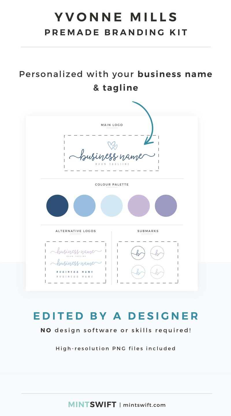 Yvonne Mills Premade Branding Kit - Personalized with your business name & tagline – MintSwift Shop