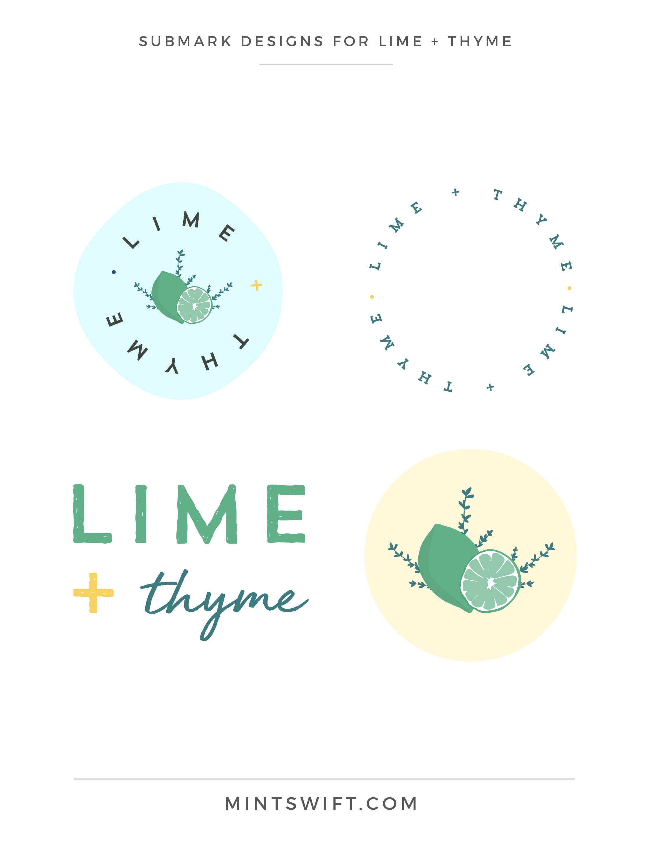 Lime + Thyme - Submark Designs - Brand & Website Design - MintSwift
