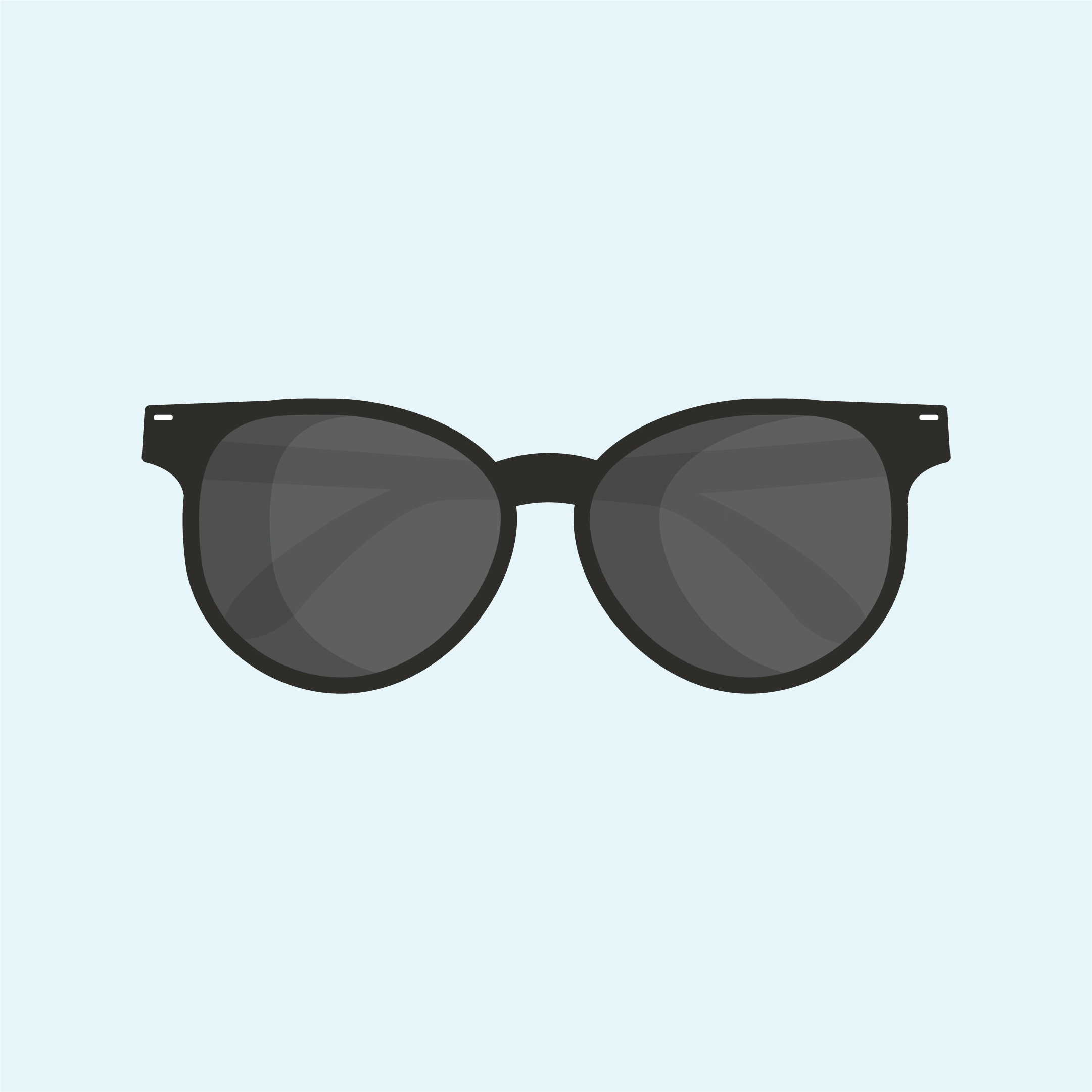 Vector illustration of black sunglasses in flat design style