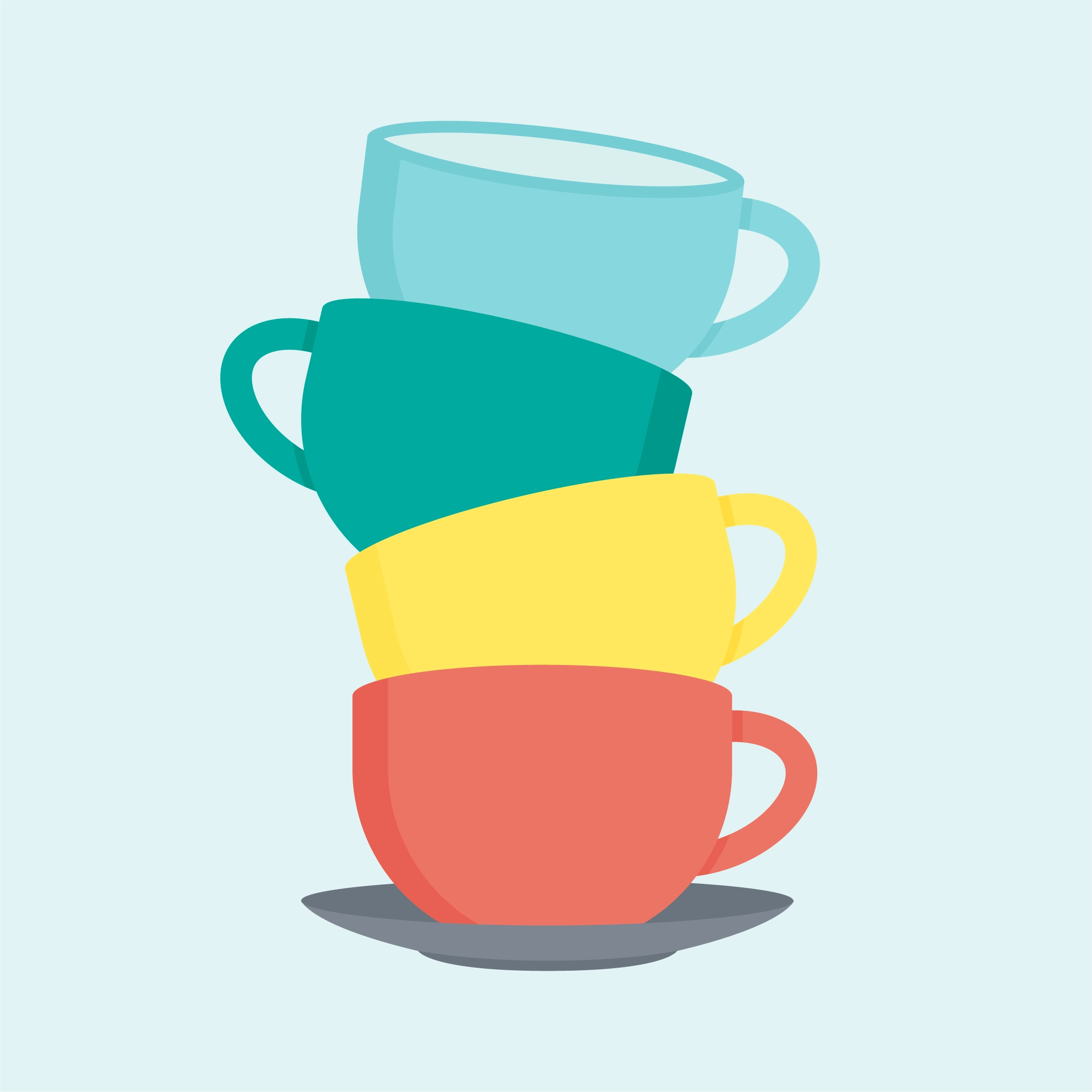 Vector illustration of a stack of solid colour teacups & saucer in flat design style