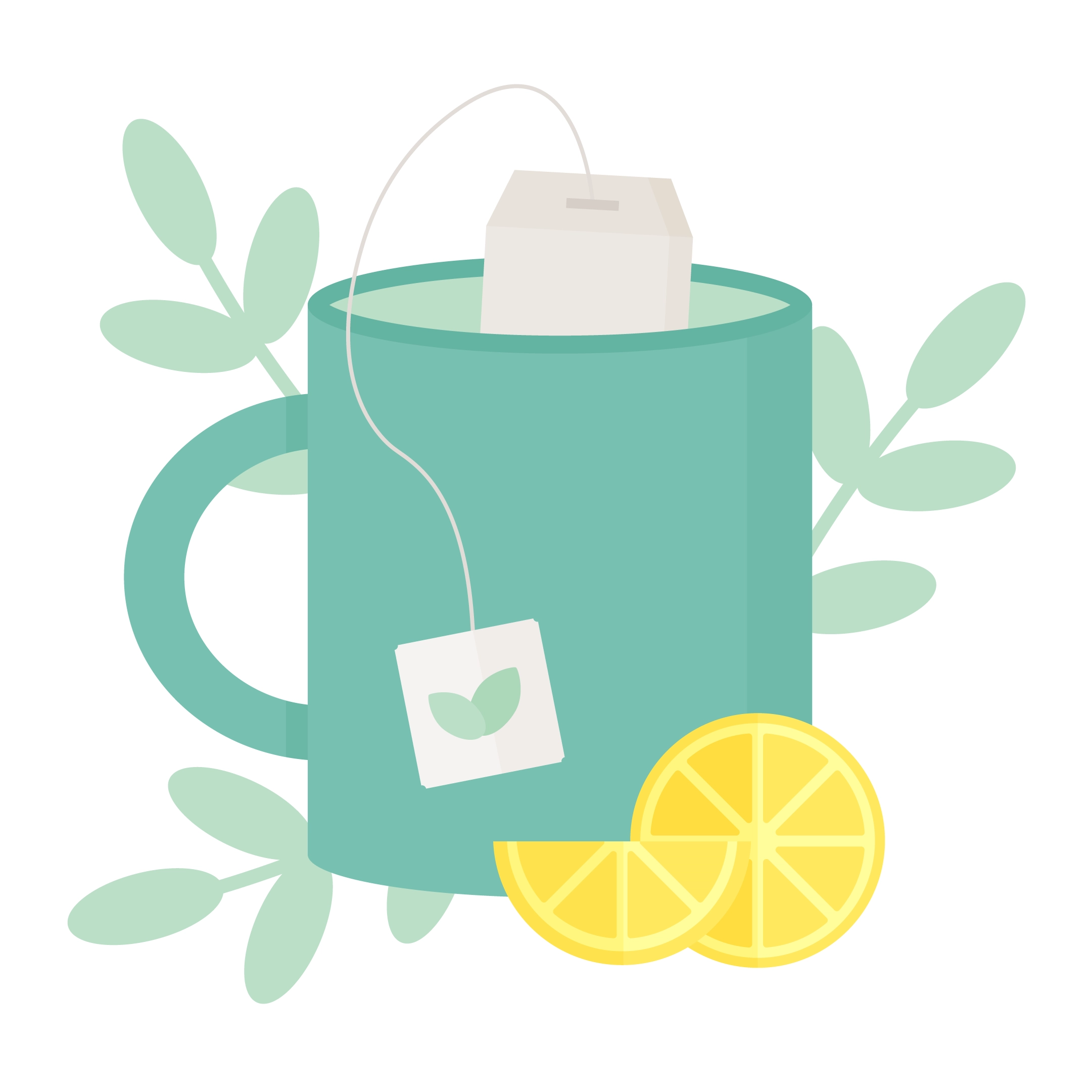 Vector illustration of a mug with a green tea bag, lemon slices in front & leaves in the background in flat design style