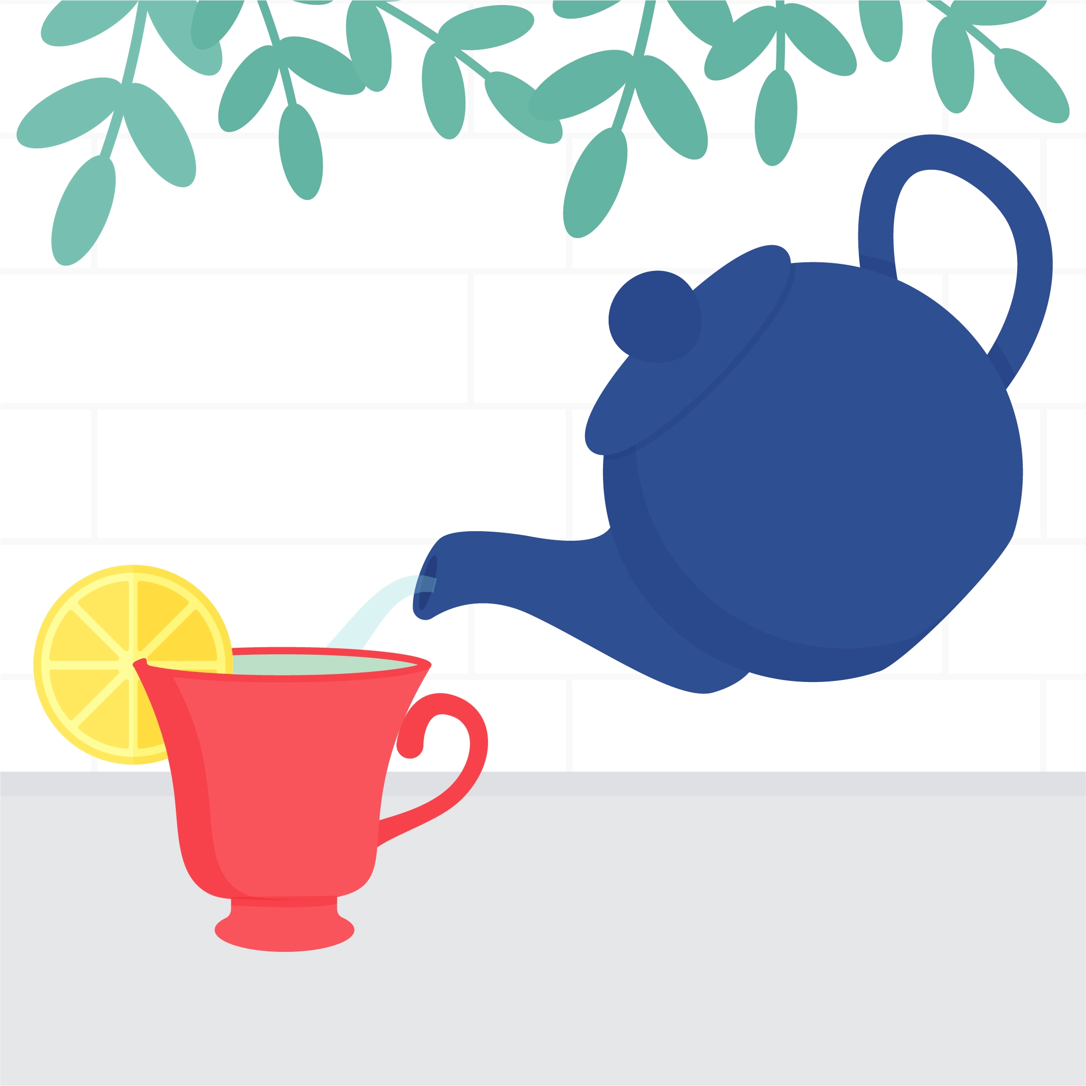 Vector illustration of a tea brewing in a kitchen - adding boiling water from the teapot into a teacup in flat design style