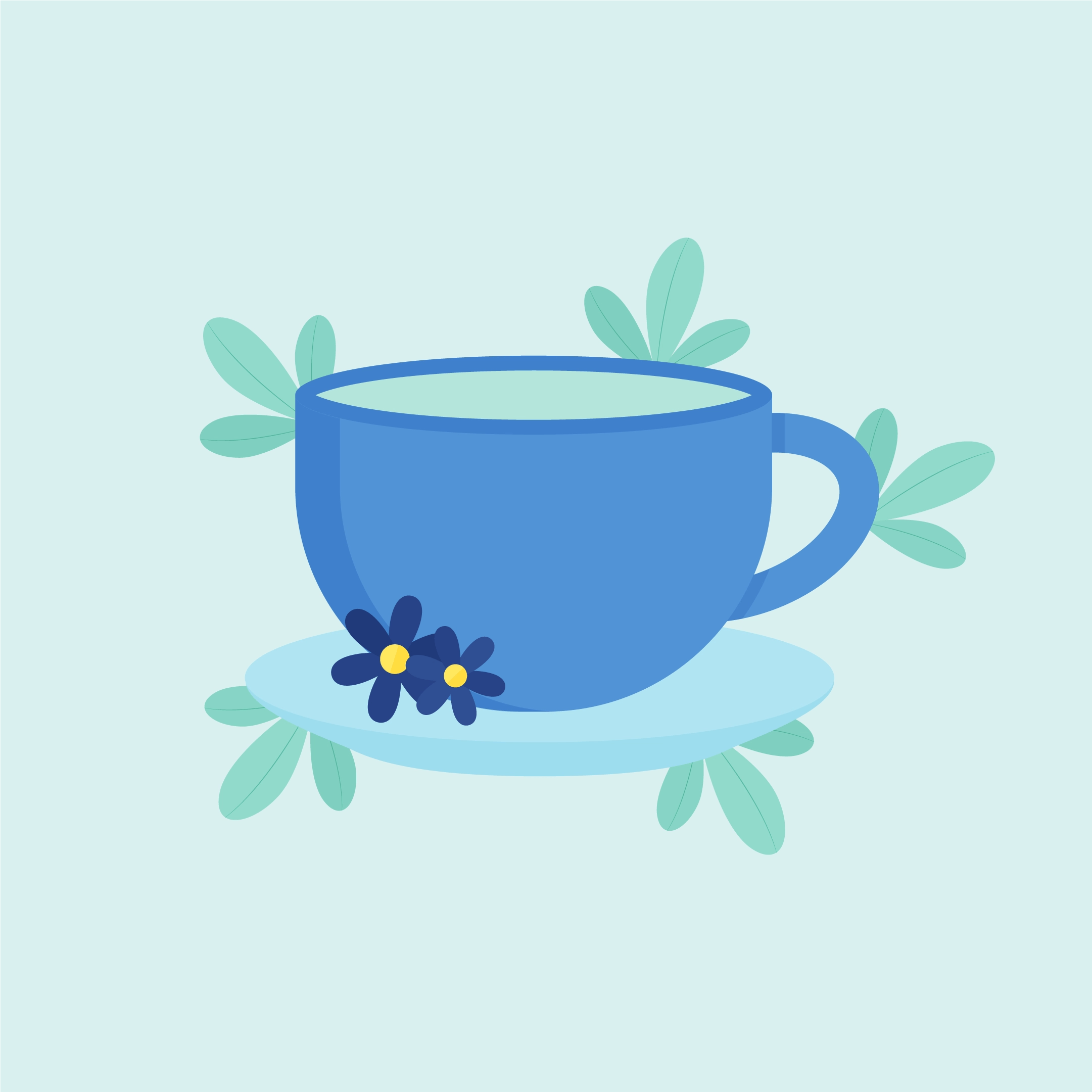 Vector illustration of a cup of green tea with saucer & flowers in flat design style