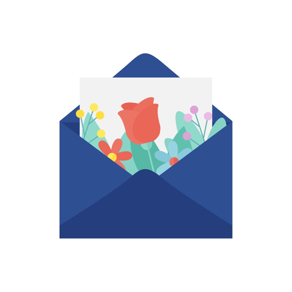 Flat illustration of an envelope with a love letter & flowers