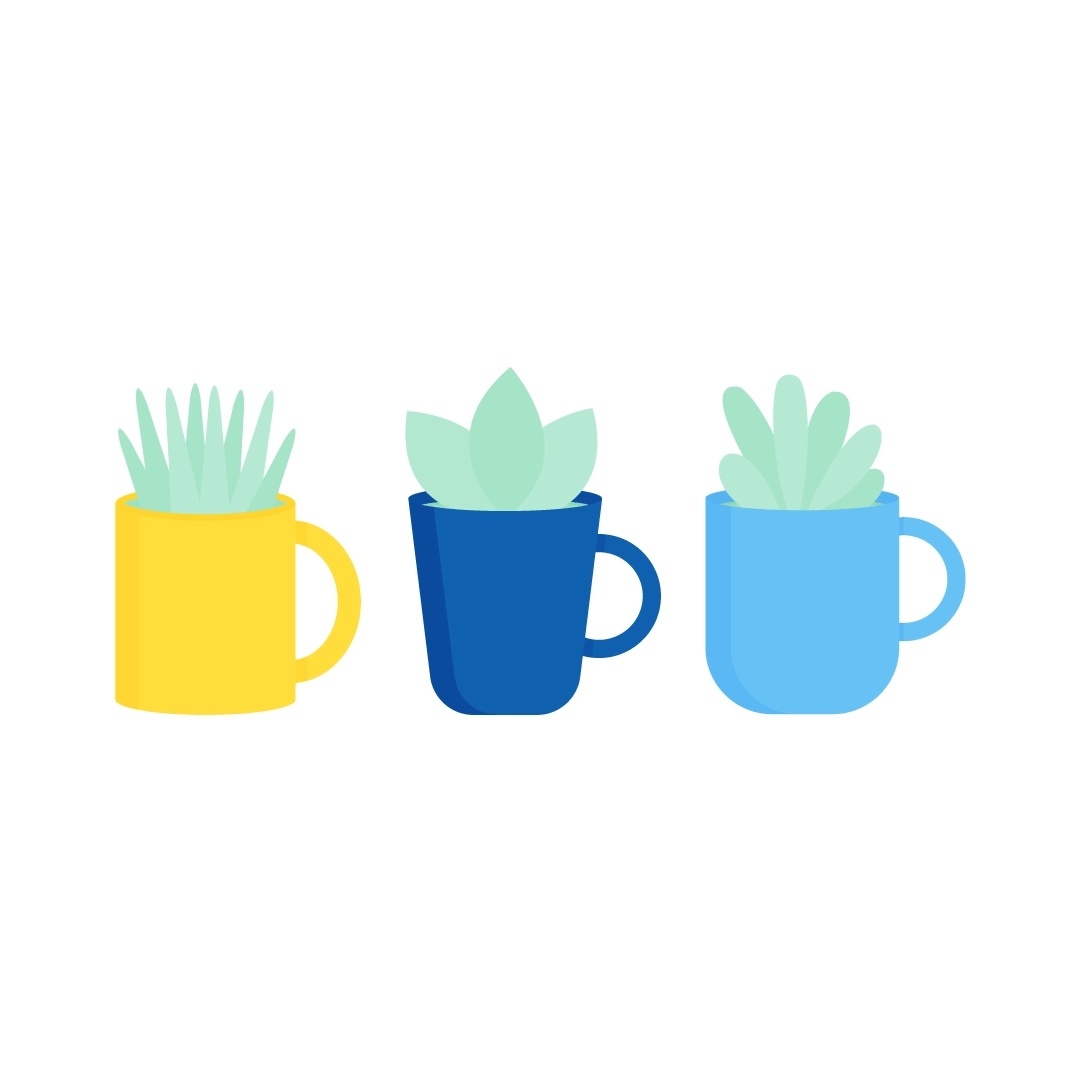 Vector illustration of a set of three assorted plants in tea mugs in flat design style