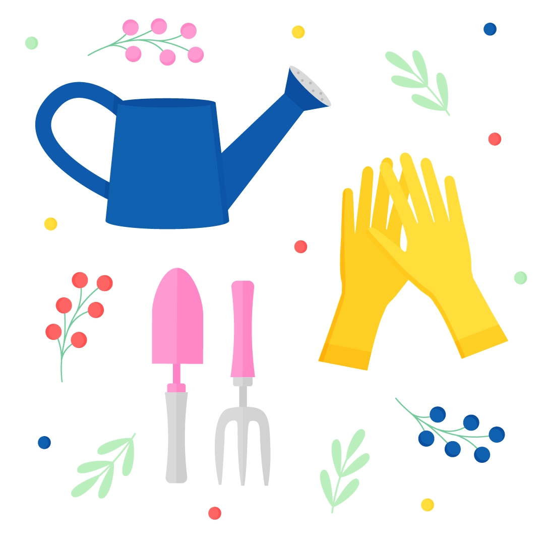 Vector illustration of a Gardening set - watering can, gardening gloves, gardening trowel & fork in flat design style