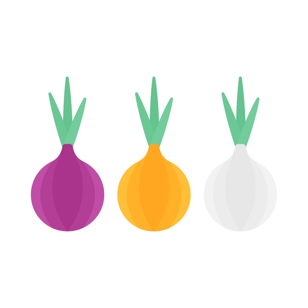 Vector illustration of a Three onion types: red onion, yellow onion & white onion in flat design style