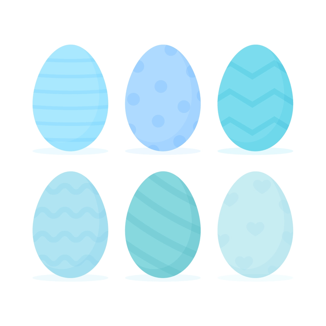 Vector illustration of 6 blue Easter eggs with geometric patterns: stripes, polka dots, hearts, chevron, diagonal stripes, waves in flat design style