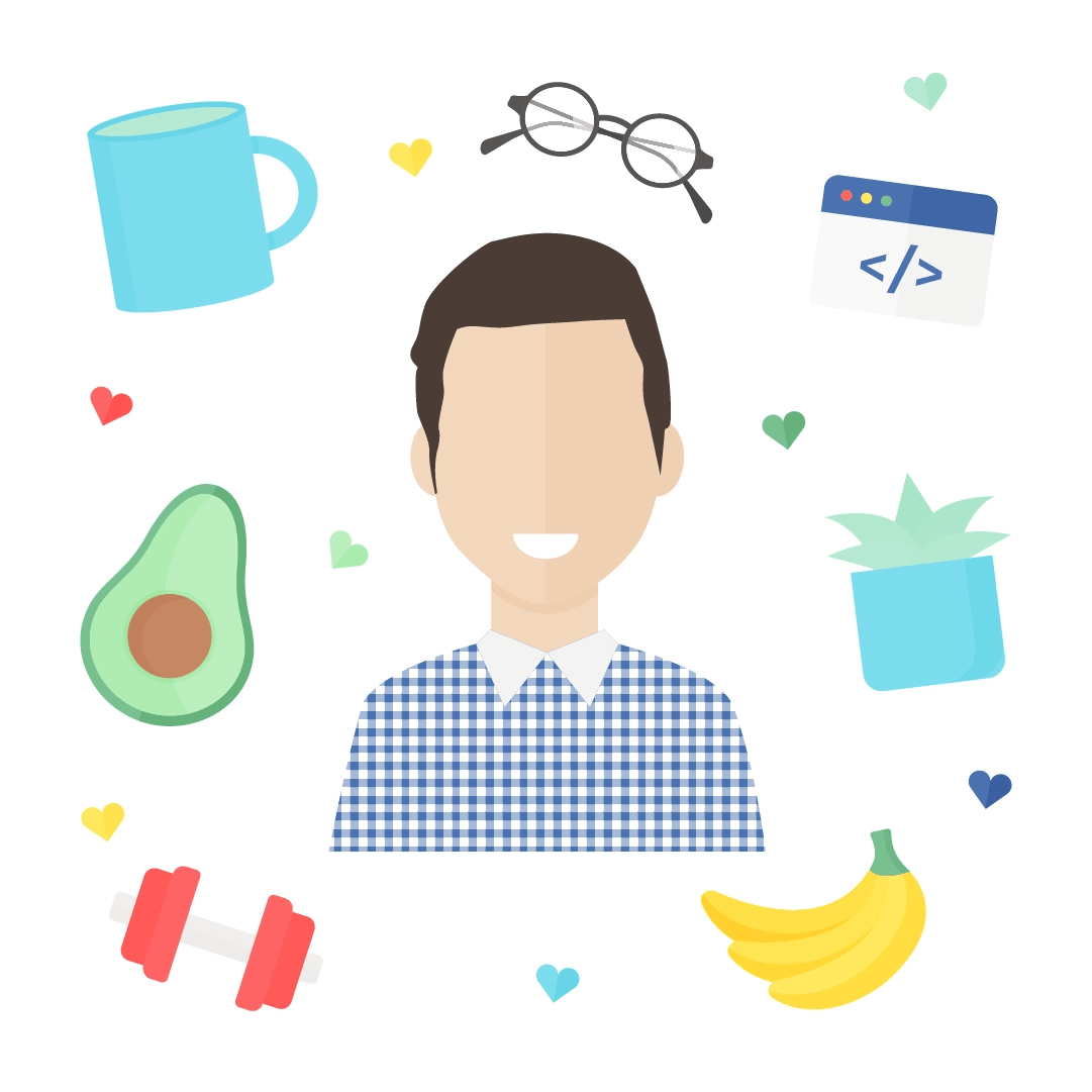 Vector illustration of a Portrait of my Husband for His Name Day/St George's Day with: mug, glasses, code, succulent, bananas, dumbbell & Avocado in flat design style